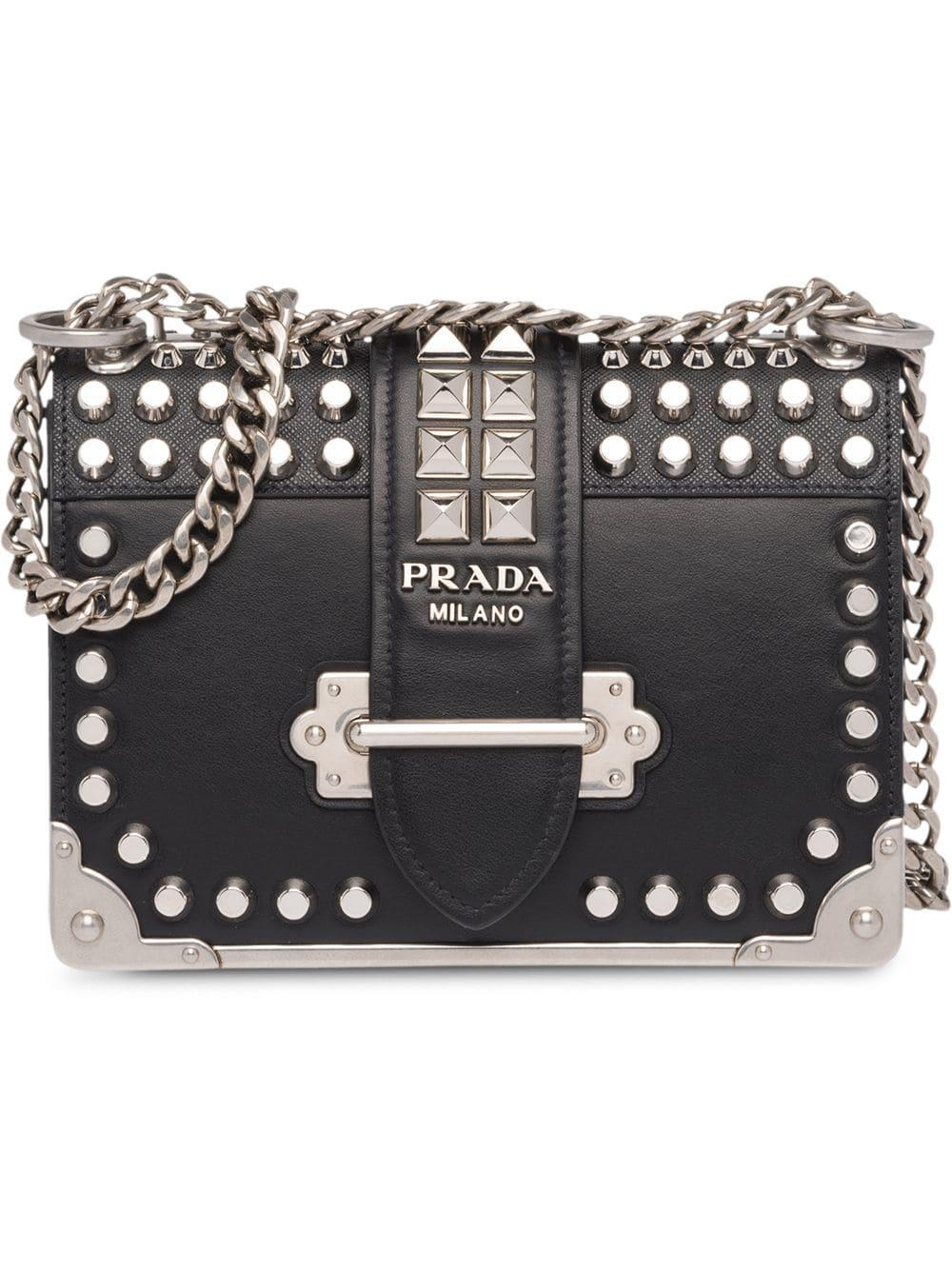 d53ee7865a5f5b Prada Cahier Studded Leather Shoulder Bag In Black | ModeSens