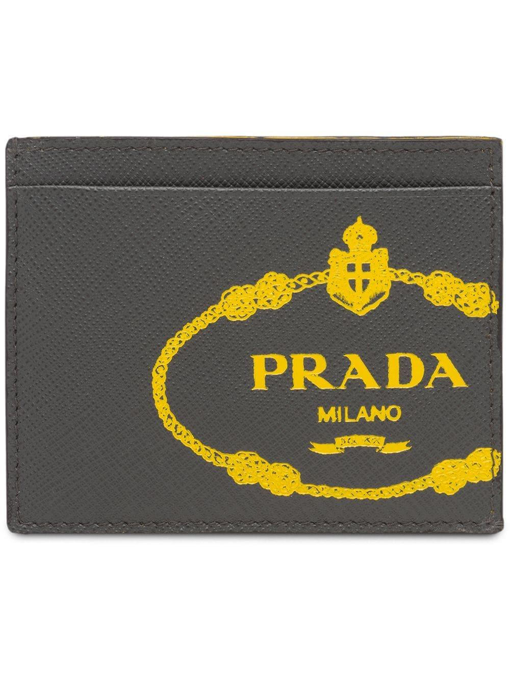 7998bd243a2b03 Prada Saffiano Leather Credit Card Holder - Grey | ModeSens