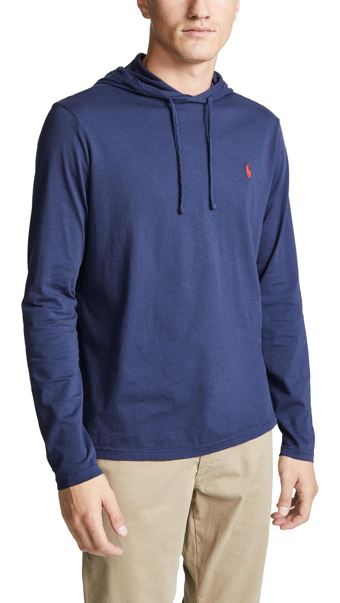 In Navy Hooded Tee Long Sleeve Shirt zUMqVpS