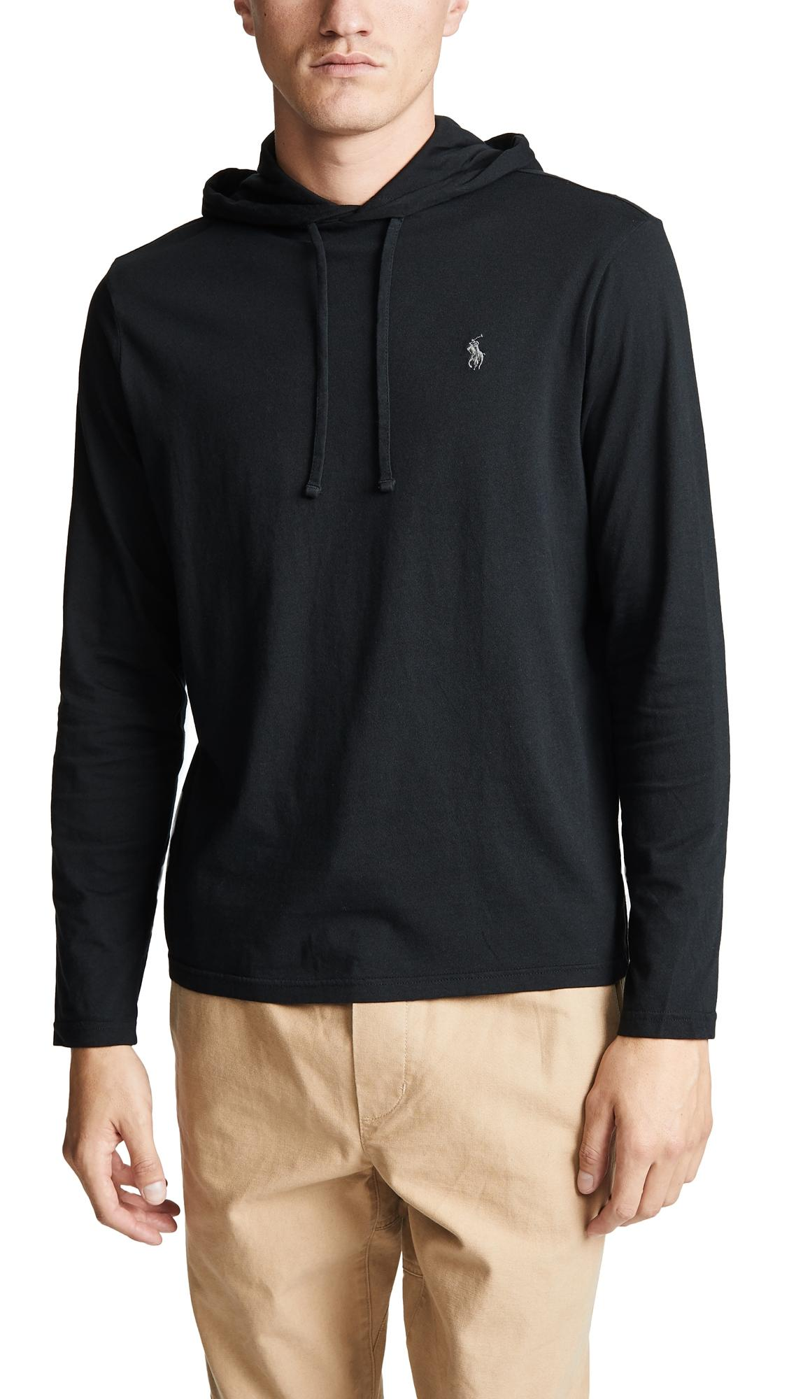 0403cfc29 Polo Ralph Lauren Long Sleeve Hooded Tee Shirt In Black | ModeSens