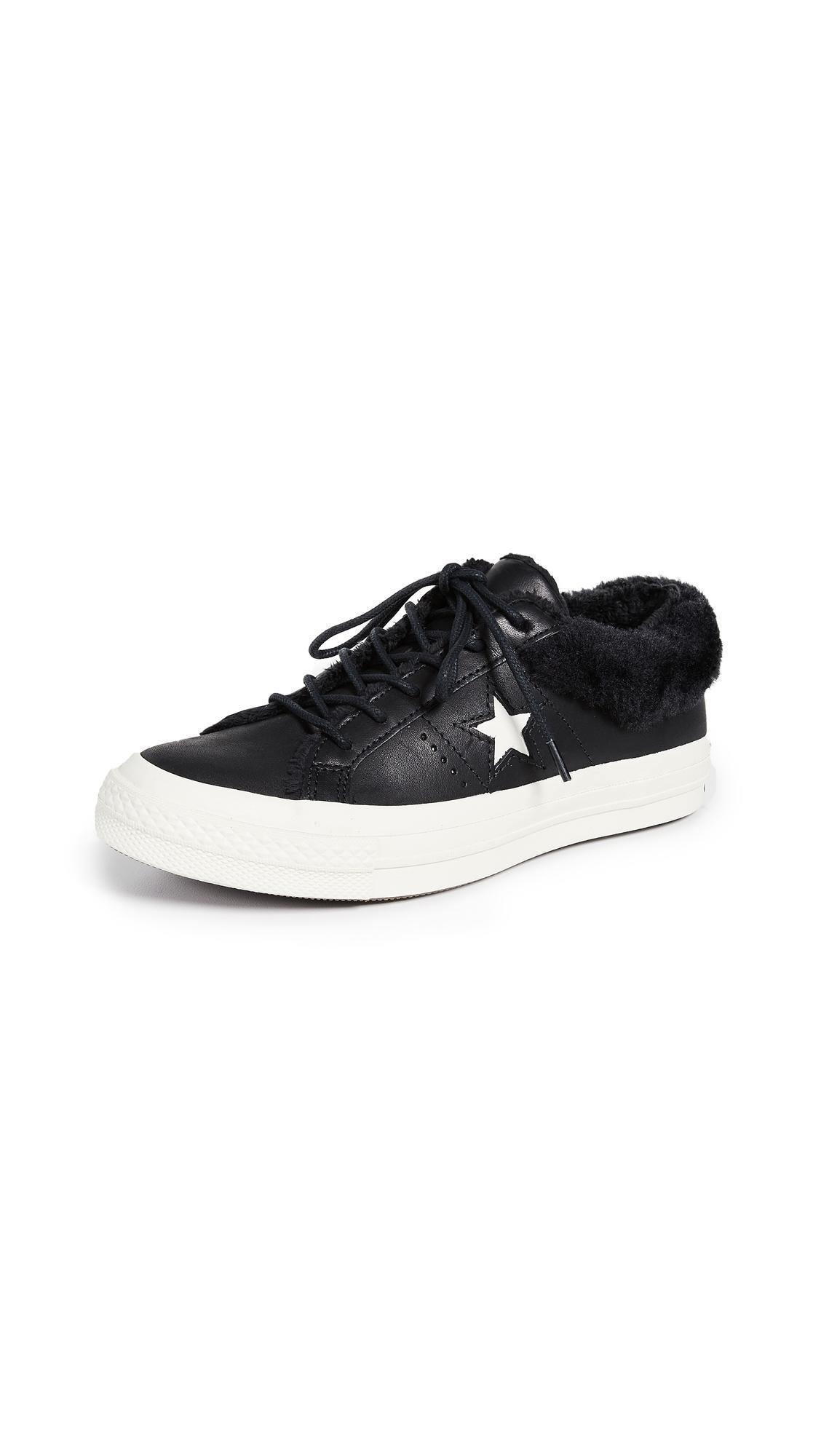 Raramente Disminución bordillo  Converse One Star Street Warmer Faux Fur Lined Low Top Sneaker In Black |  ModeSens