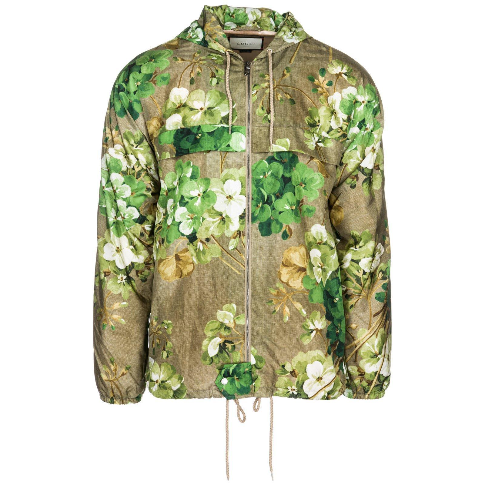 3e8b75eb95e Gucci Floral Print Windbreaker In Green. CETTIRE