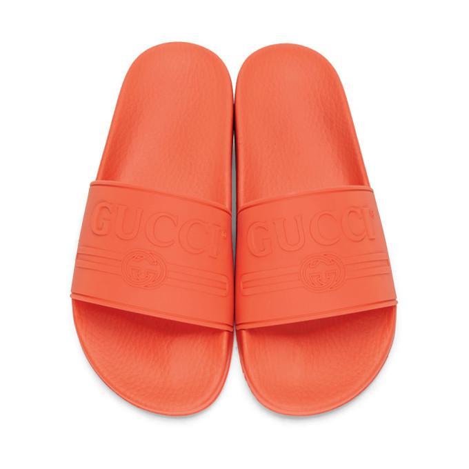 30bea359f Gucci Logo-Embossed Rubber Slides - Tomato Red In 7517 Aranci