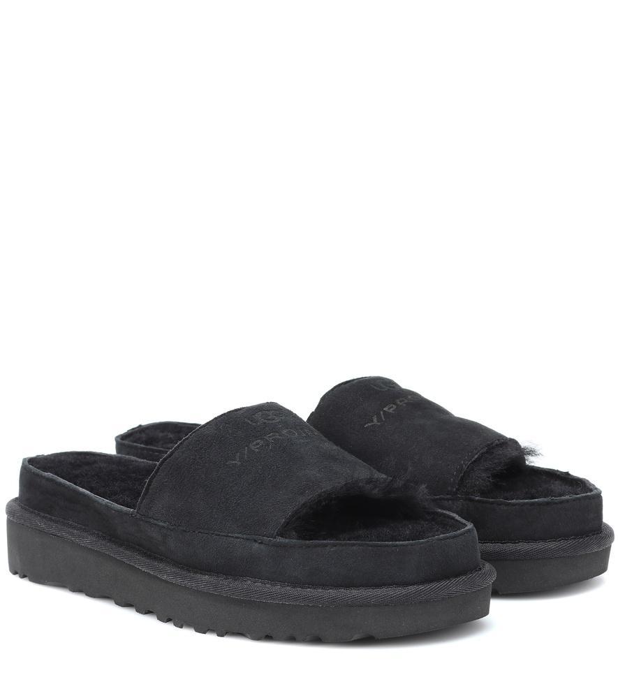 8b41d71a1c6 X Ugg Genuine Shearling Slide Sandal in Black