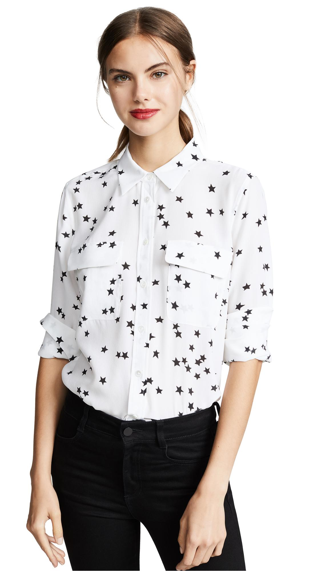 f42e7538d2d20 Equipment Slim Signature Silk Blouse In Bright White