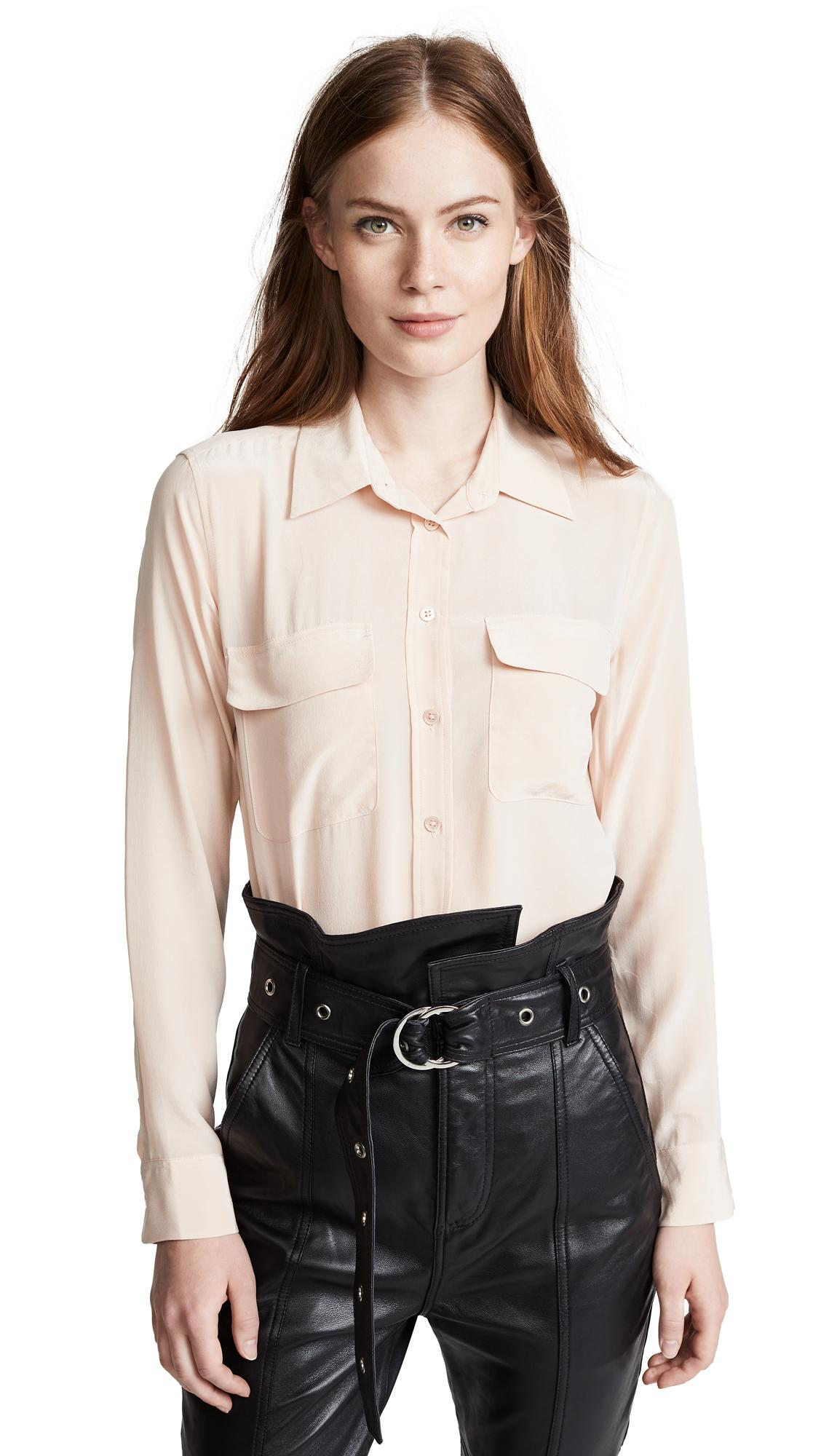f7177f81dd528 Equipment Slim Signature Blouse In French Nude