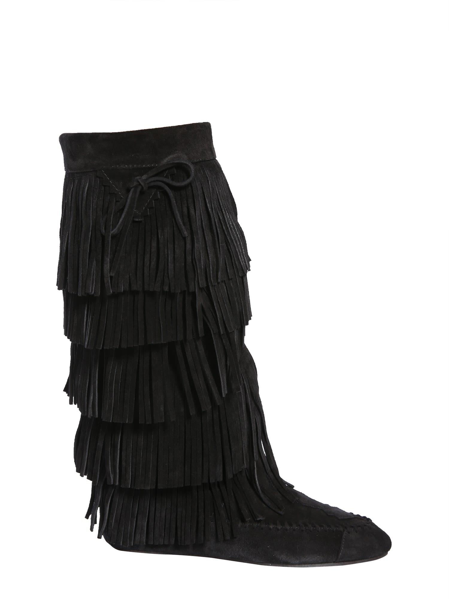 0ded4941a4b3 Saint Laurent Fringed Boots In Nero