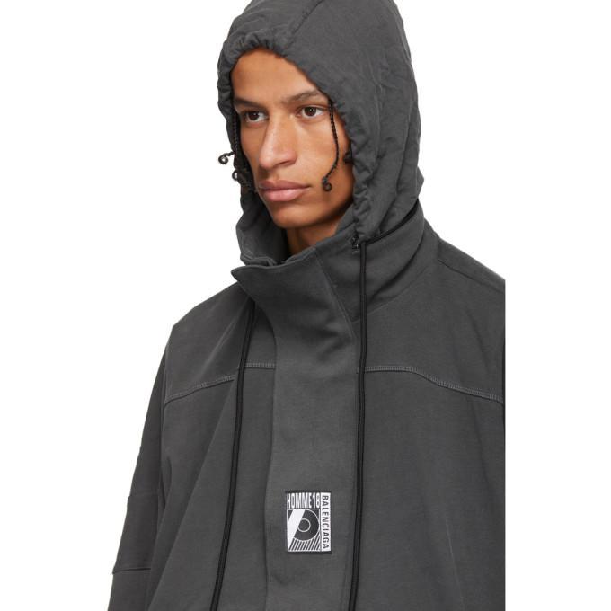 fede8d9a0cf95b Balenciaga - Logo Embroidered Half Zip Cotton Jersey Sweatshirt - Mens -  Grey