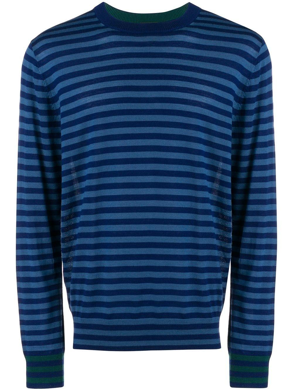 18656bd9771f Ps By Paul Smith Striped Crew Neck Jumper - Blue   ModeSens