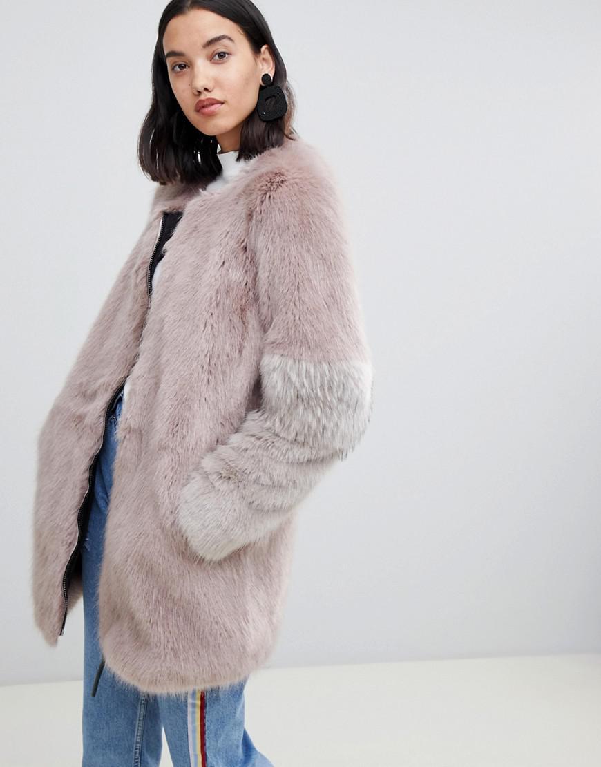 ff1b5aeace52 Urbancode Claudia Faux Fur Collarless Zip Coat - Brown. ASOS. 82Login to see  price