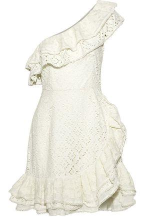 2c6dffe380 Love Sam Woman Island One-Shoulder Ruffled Broderie Anglaise Cotton Mini  Dress Cream