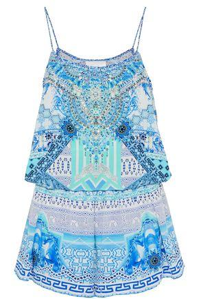 cd289735a9 Camilla Woman Masking Madness Embellished Printed Silk Playsuit Turquoise.  THE OUTNET.