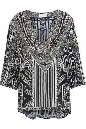 a671999c931 Camilla Woman Tribal Theory Embellished Printed Silk Crepe De Chine Blouse  Gray