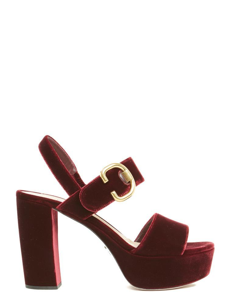 7ee2b33ef3a Prada Platform Sandals In Red
