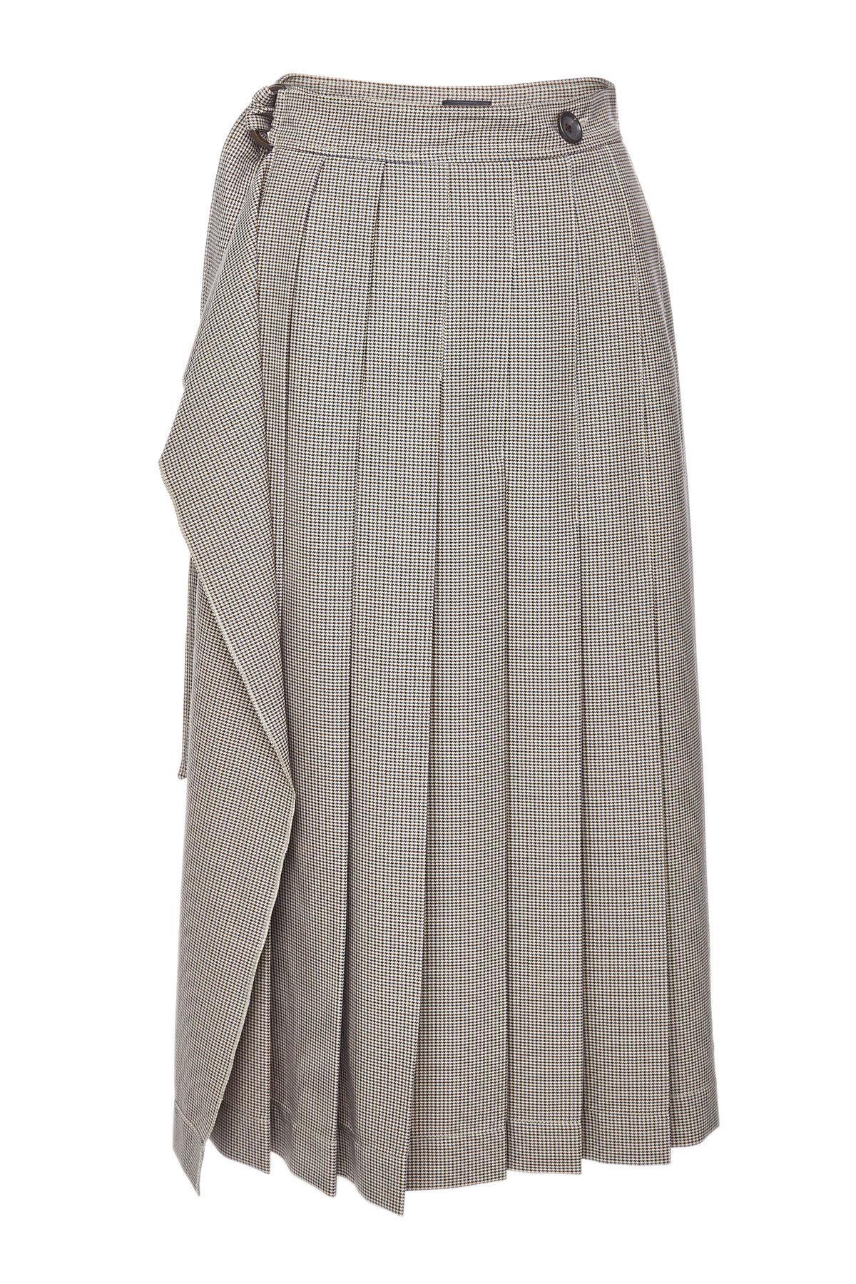 3234bc3b52 Joseph Fleet Checked Pleated Midi Skirt In Grey | ModeSens