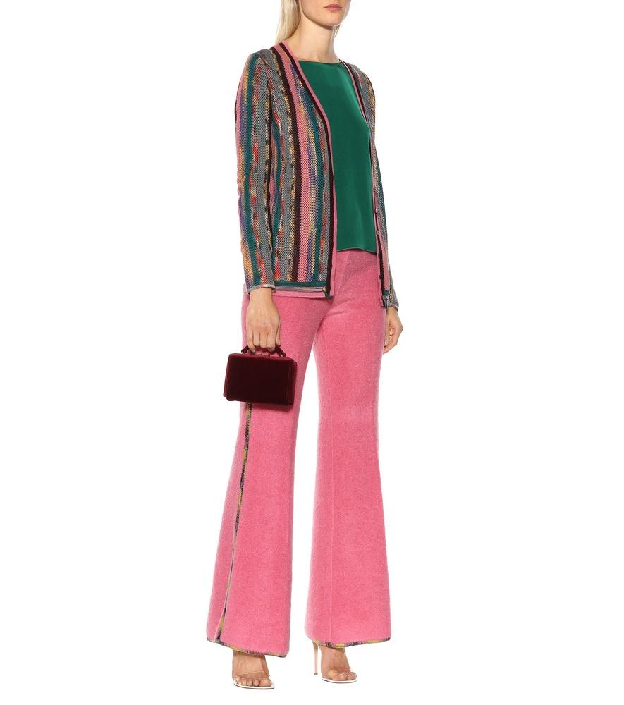 Missoni Low-Rise Flared Stretch-Knit Pants In Pink
