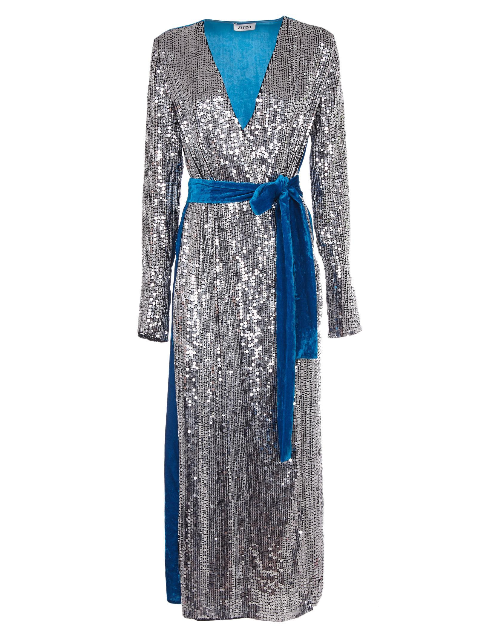 21772657 Attico Wrap-Effect Paneled Sequined Crepe And Velvet Midi Dress In Silver