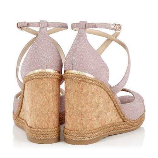 b237c0925d7 Jimmy Choo Alanah 105 Ballet Pink Fine Glitter Fabric Wedges With Braid  Trim Wedge