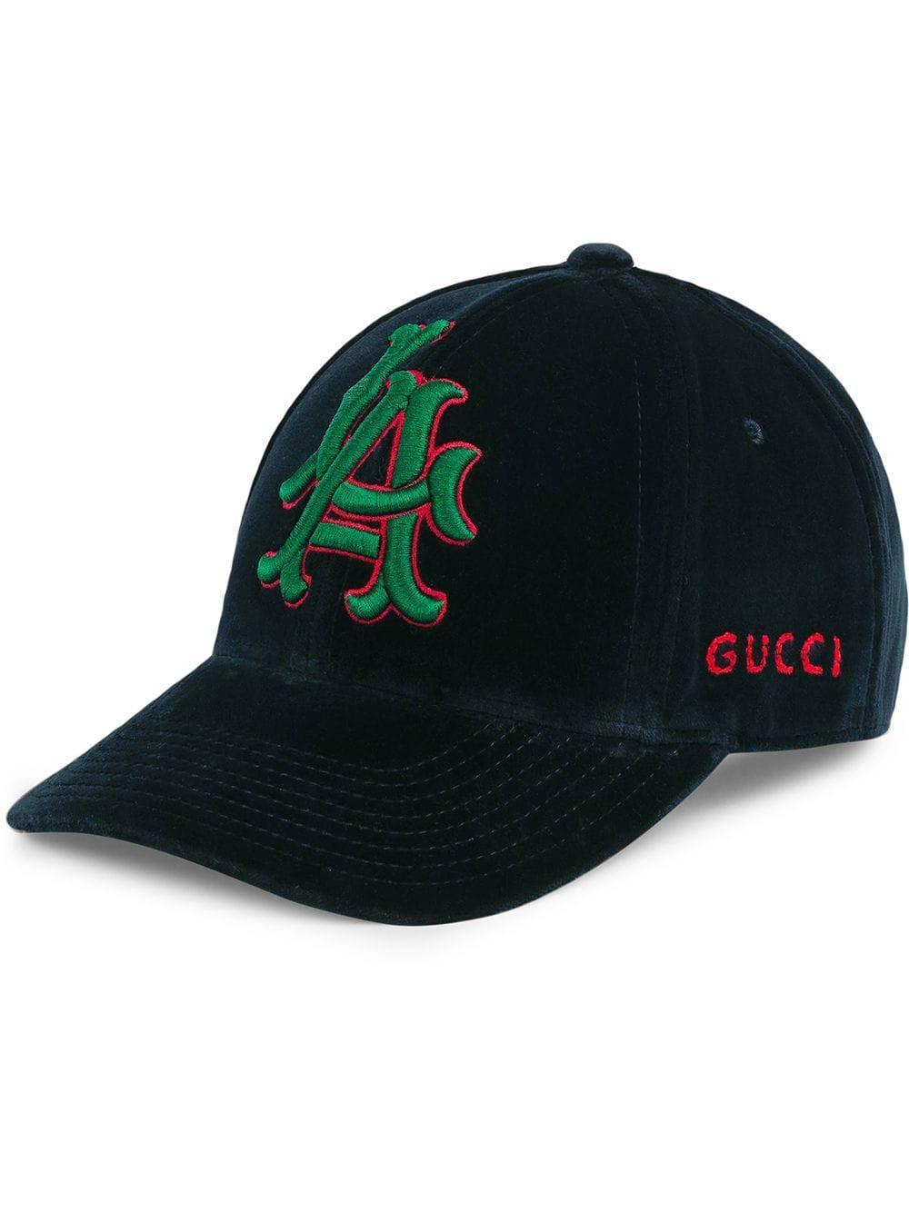 1e57bcc13 Gucci Men's Velvet Baseball Cap With La Angels Mlb Applique In Blue ...