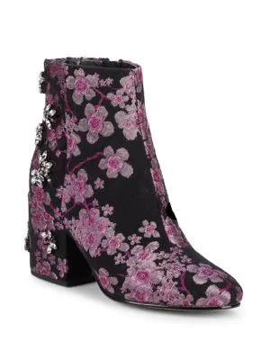 83e1e8305da2e9 Sam Edelman Taye Embellished Brocade Ankle Boots In Pink