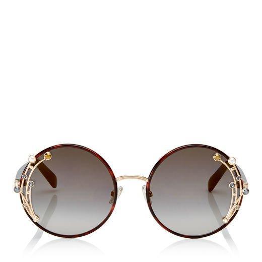 6955c8f92392 Jimmy Choo Gema Dark Havana Round Shaped Metal Sunglasses With Swarovski  Crystals And Pearls In Efq
