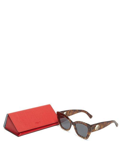 f7522cf2c Fendi Ff-Print Round Acetate Sunglasses In Brown Multi | ModeSens