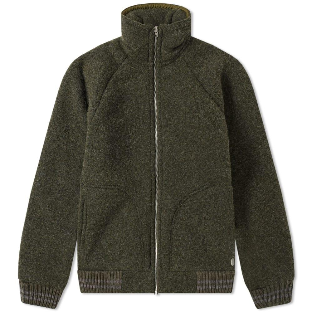 9d5679588511 Nigel Cabourn X Peak Performance Wool Fleece Zip Jacket In Green ...