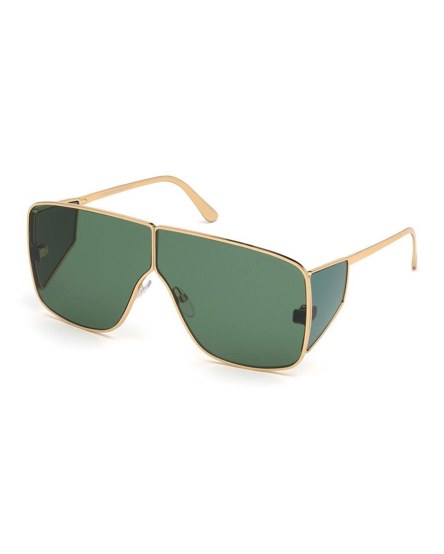 c77b48e894f67 Tom Ford Spector 72Mm Geometric Sunglasses - Shiny Yellow Gold  Dark Green