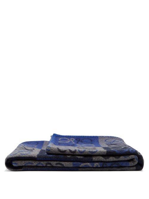 Loewe Anagram Wool-Blend Blanket In Blue Multi