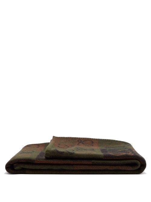 Loewe Anagram-Patch Wool Blanket In Beige Multi