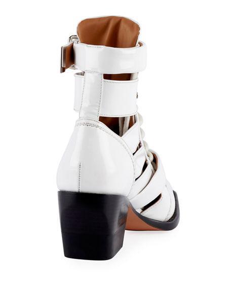 ChloÉ Chloé Rylee Cut-Out Ankle Boots  White/Black 37