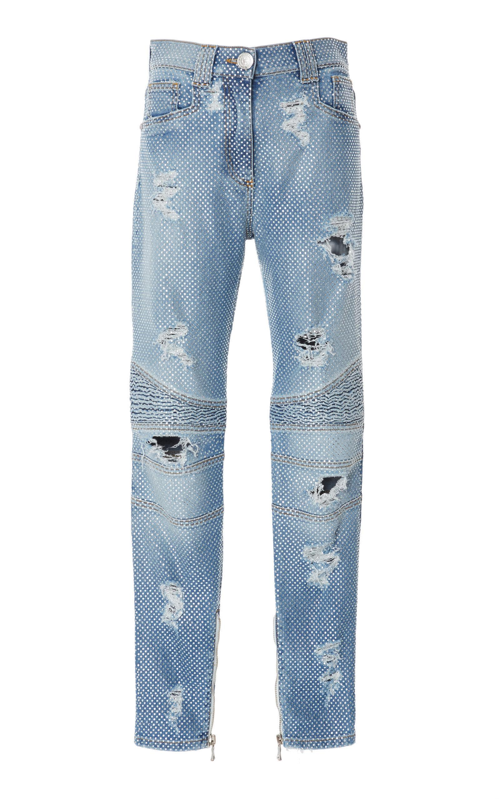 9bc00fec8e9 Balmain High-Rise Straight-Leg Biker Jeans In Light Wash | ModeSens