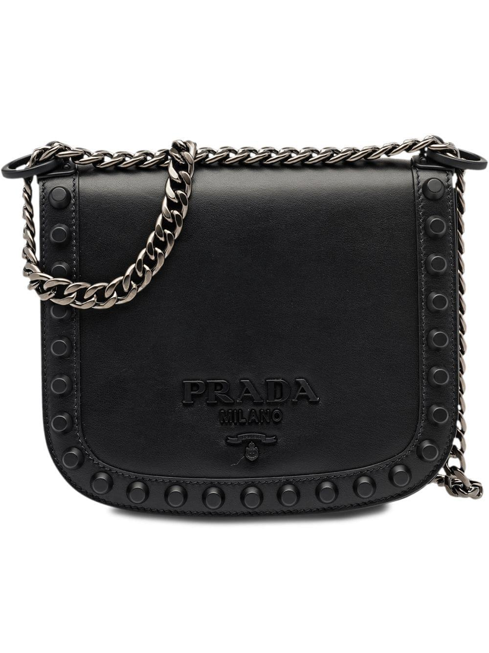 dc6b3b9b02377b Prada PionnièRe Studded Shoulder Bag - Black | ModeSens