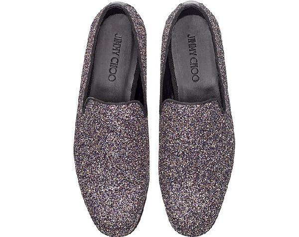 646dcf940bb1d Jimmy Choo Marlo Twilight Glitzy Glitter Fabric Slippers In Metallic ...
