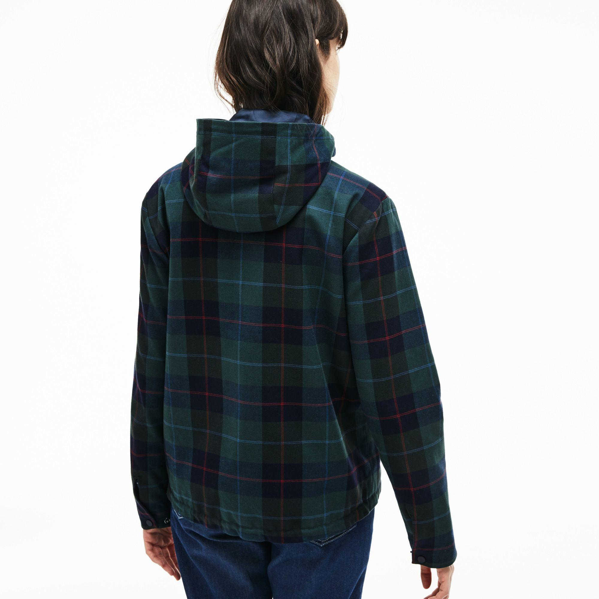 114d4bacbd Women's Tartan Check Print Cotton Canvas Zippered Pea Coat in Green / Blue