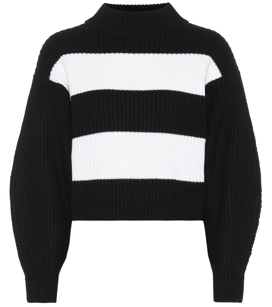 7974e7df55a63e Tibi Merino Wool Striped Sweater In Black/White Multi | ModeSens