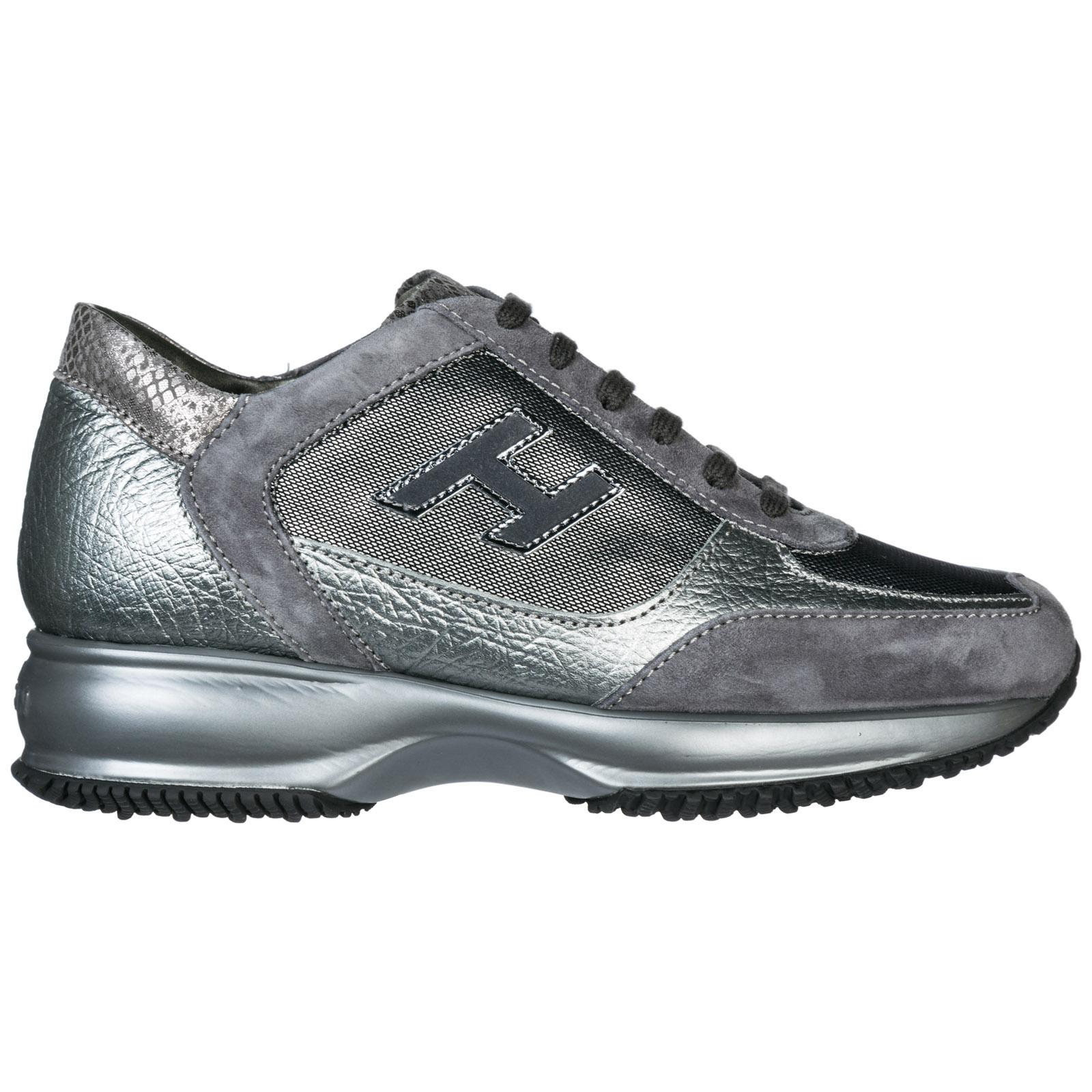 Women's Shoes Leather Trainers Sneakers Interactive in Silver