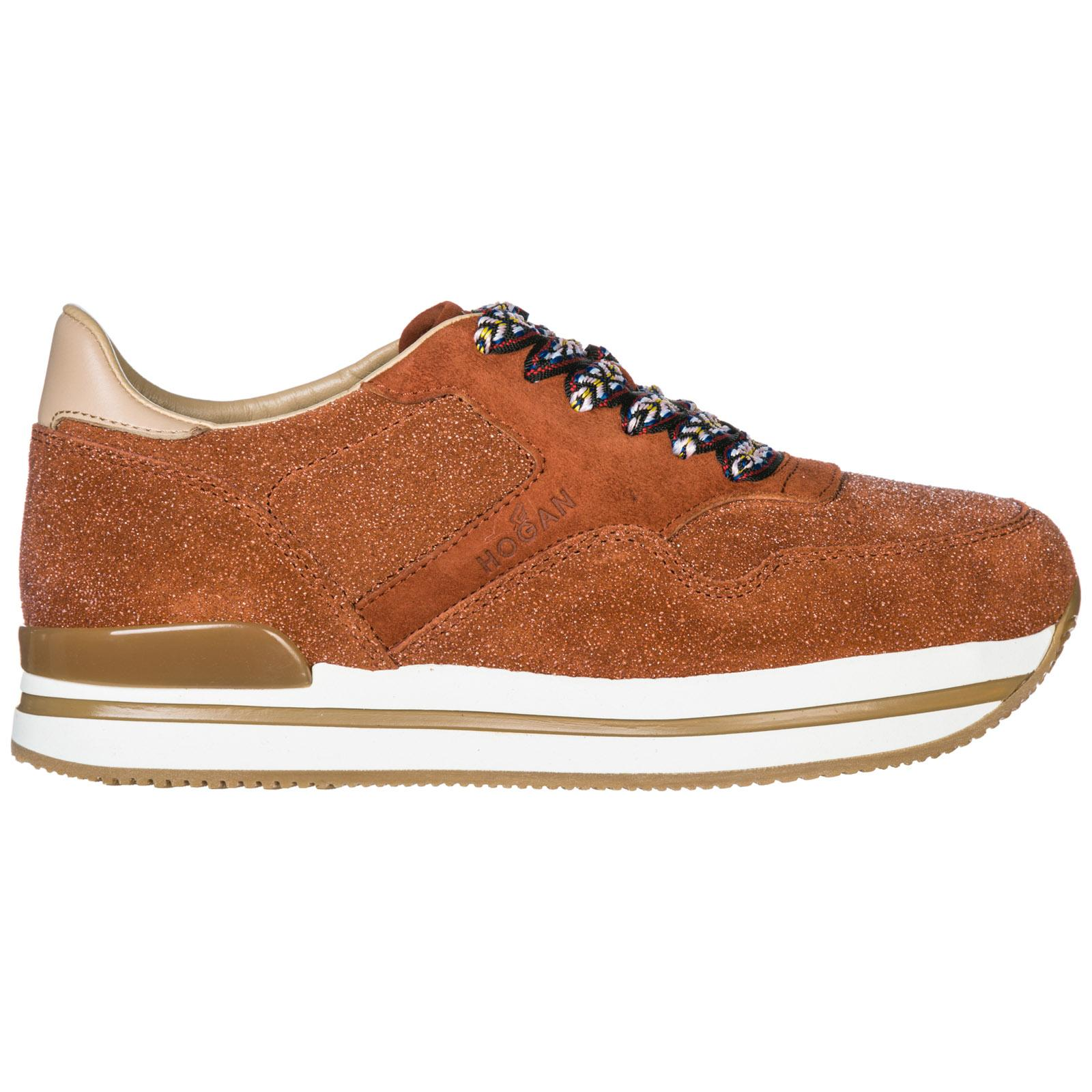 45c0ca03737ff Hogan Women S Shoes Suede Trainers Sneakers H222 In Orange Modesens
