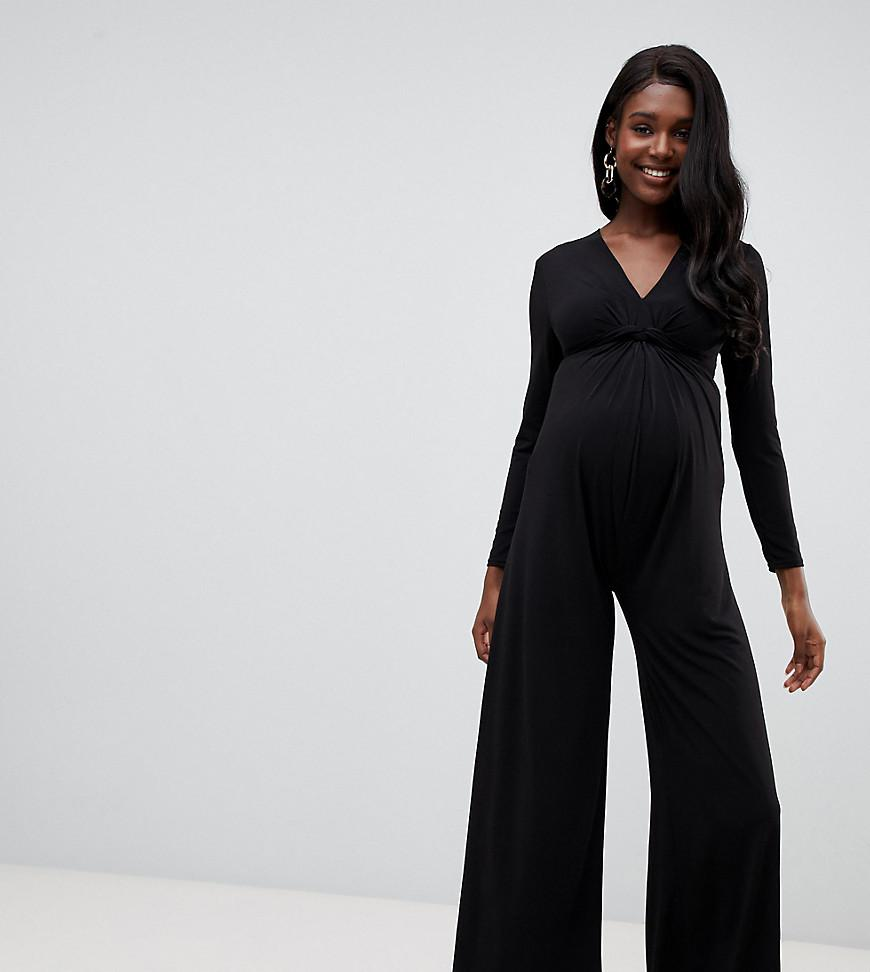 6eaf79cbfc Black Wide Leg Jumpsuit With Sleeves