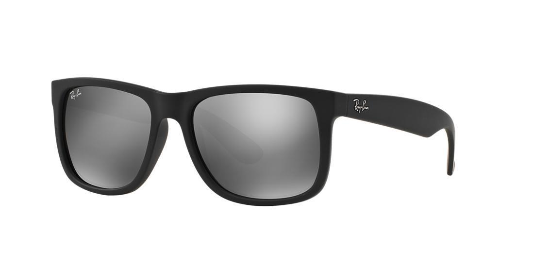 ea6735e3495 Ray Ban Ray-Ban Justin Black Rectangle Sunglasses - Rb4165 In Black Grey  Mirror. Sunglass Hut