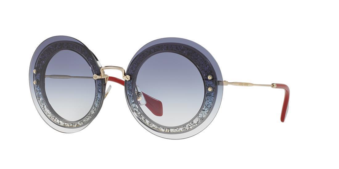 56f9e15c9007 Miu Miu 64Mm Round Overlay Sunglasses In Grey Clear Blue Gradient ...