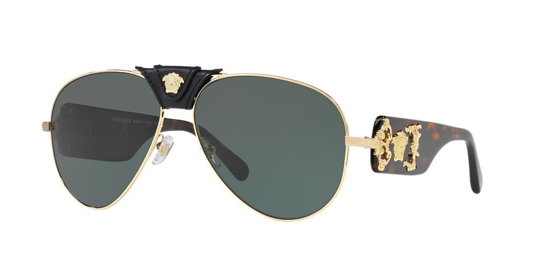 613a89f8499f Versace Men'S Medusa Leather-Wrap Aviator Sunglasses - Mirror Lenses In Gold/Grey  Green