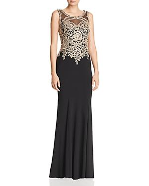 b1c7c717d787 Avery G Embroidered Bodice Gown In Black Gold