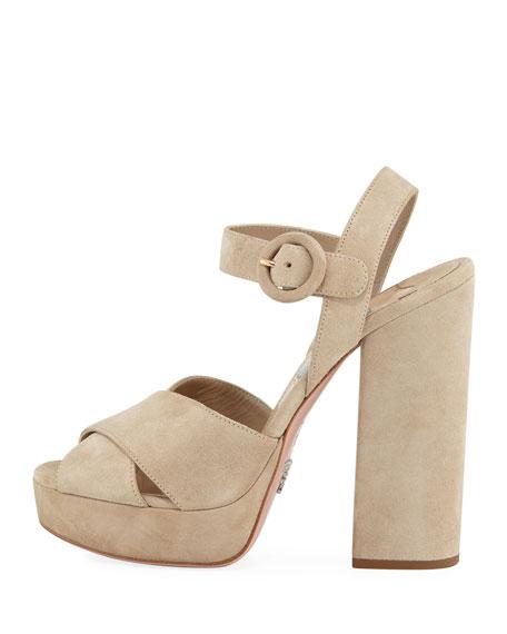 Prada Suede Platform Ankle-Strap Sandal In Nude
