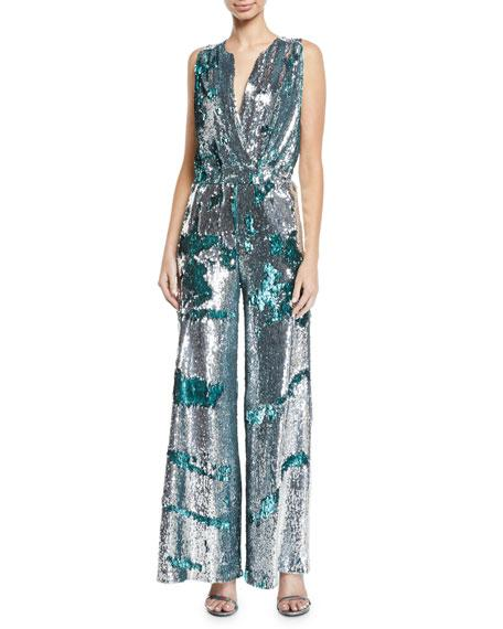 66fc75464c67 Carolina Ritzler Irma Sleeveless Surplice Wide-Leg Allover Sequin Jumpsuit  In Silver