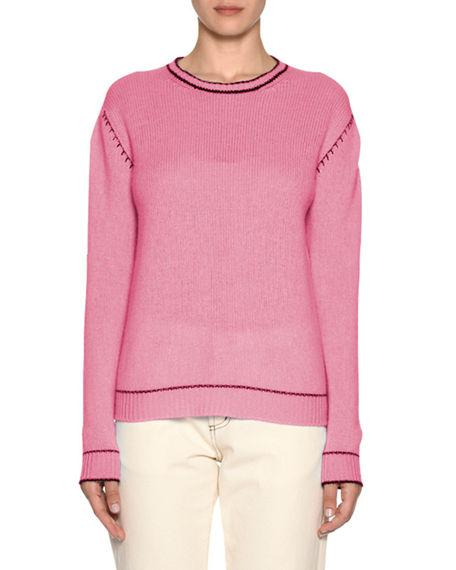 f5c11b54e98bb4 Marni Button-Down Back Cashmere Knit Sweater In Light Pink   ModeSens