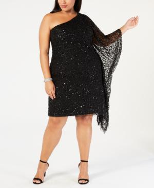 Adrianna Papell Plus Size Sequined One-Shoulder Dress In Black ...