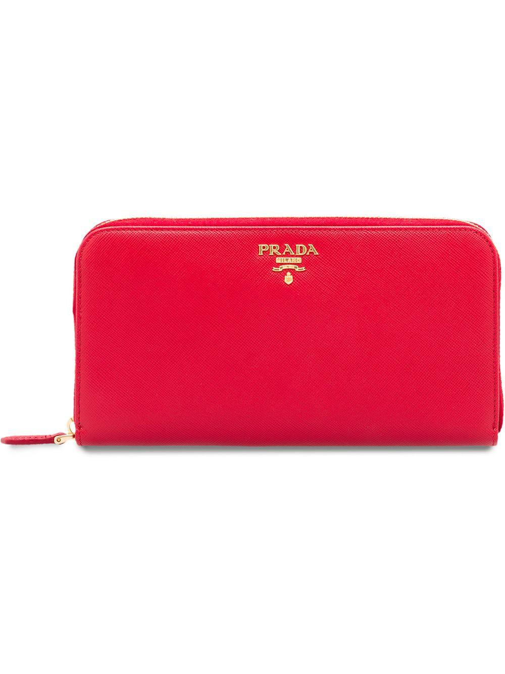 03d5e715cb56 Prada Saffiano Large Zip-Around Travel Wallet, Red (Fuoco) | ModeSens