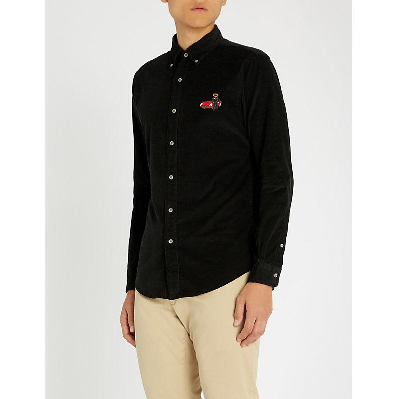 Bear-embroidered Slim-fit Corduroy Shirt In Polo Black
