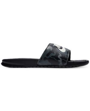 36f9d1cc5a62 Nike Men s Benassi Just Do It Print Slide Sandals From Finish Line In  Black Summit